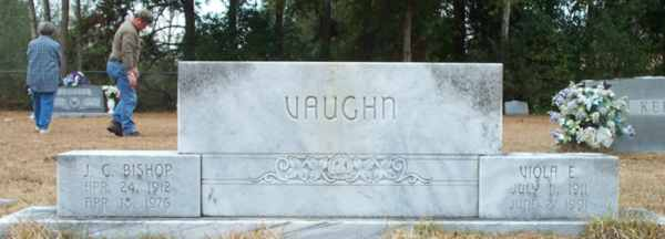 J.C. Bishop & Viola E. Vaughn Gravestone Photo