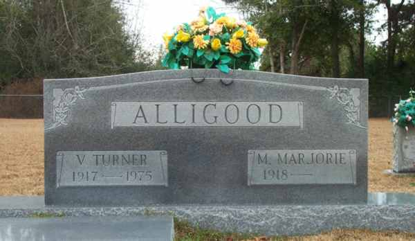 V.Turner & M. Marjorie Alligood Gravestone Photo