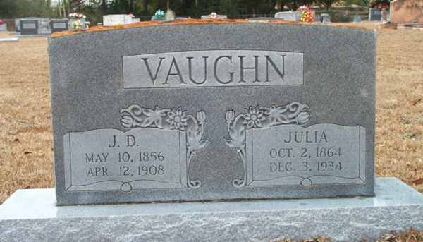 J.D. & Julia Vaughn Gravestone Photo