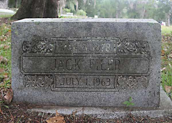 Jack Filer Gravestone Photo