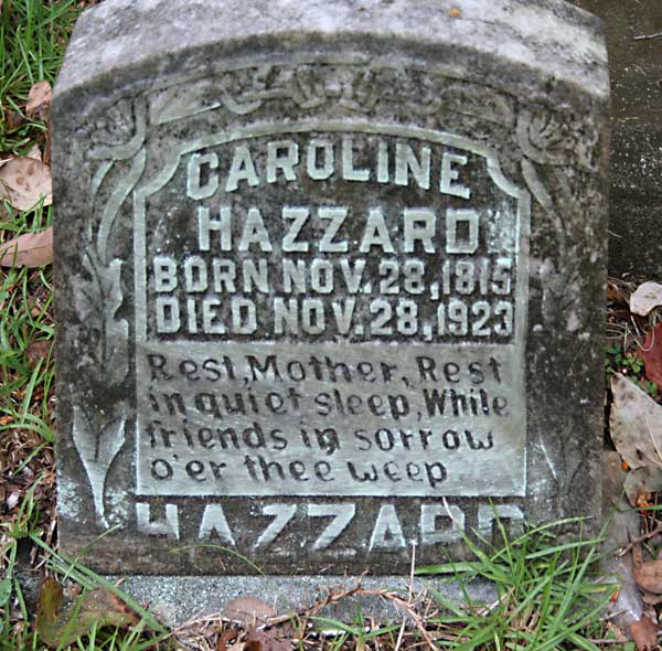 Caroline Hazzard Gravestone Photo