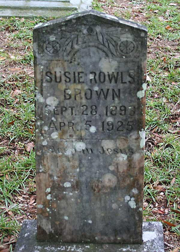 Susie Rowls Brown Gravestone Photo