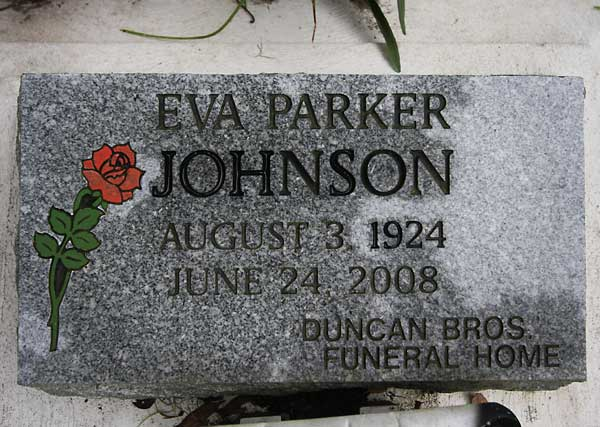 Eva Parker Johnson Gravestone Photo