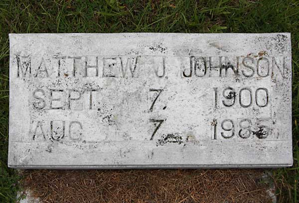 Matthew J. Johnson Gravestone Photo