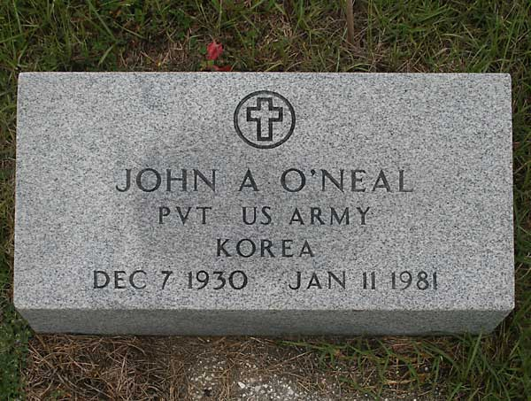 John A. O'Neal Gravestone Photo