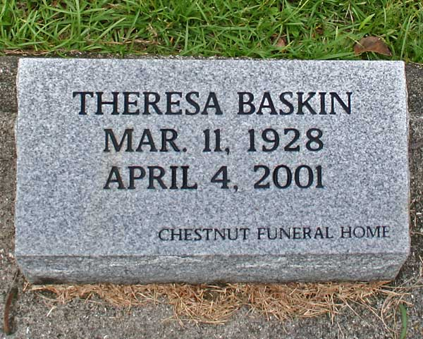 Theresa Baskin Gravestone Photo