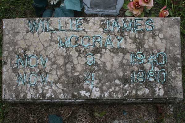 Willie James McCray Gravestone Photo