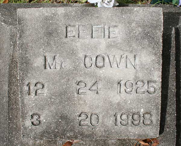Effie McCown Gravestone Photo