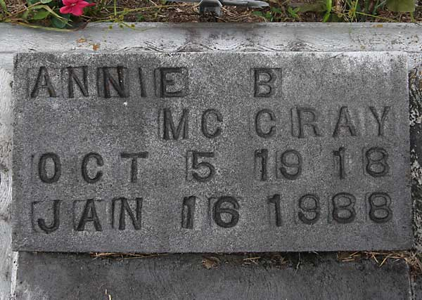 Annie B. McCray Gravestone Photo