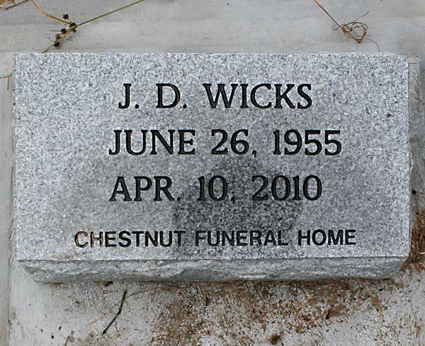 J. D. Wicks Gravestone Photo