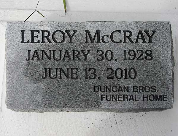 Leroy McCray Gravestone Photo