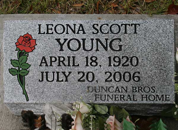 Leona Scott Young Gravestone Photo