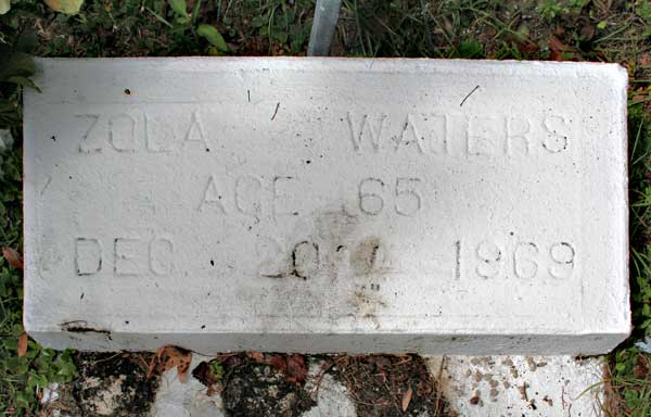 Zola Waters Gravestone Photo