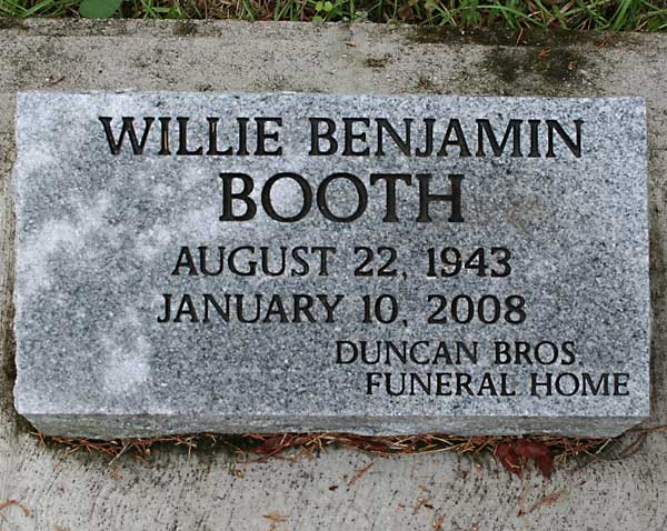 Willie Benjamin Booth Gravestone Photo