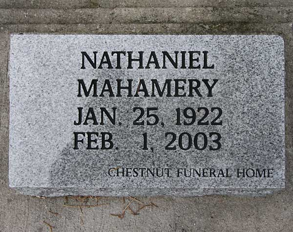 Nathaniel Mahamery Gravestone Photo