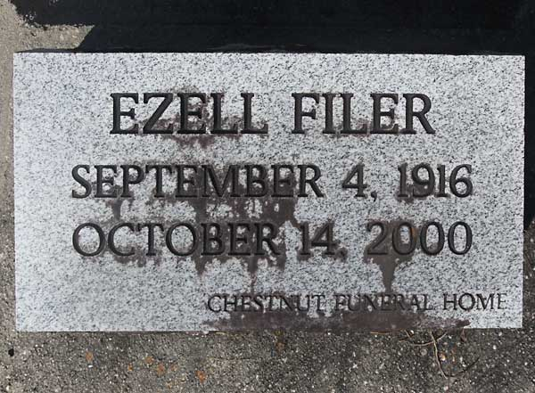 Ezell Filer Gravestone Photo