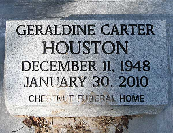 Geraldine Carter Houston Gravestone Photo