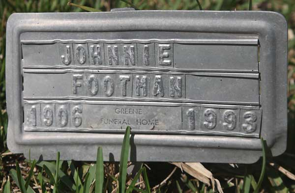 Johnnie Footman Gravestone Photo