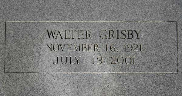 Walter Grisby Gravestone Photo