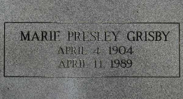 Marie Presley Grisby Gravestone Photo