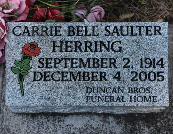 Carrie Bell Saulter Herring Gravestone Photo