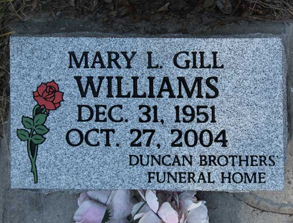 Mary L. Gill Williams Gravestone Photo
