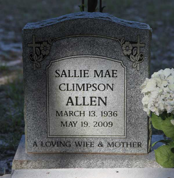 Sallie Mae Climpson Allen Gravestone Photo
