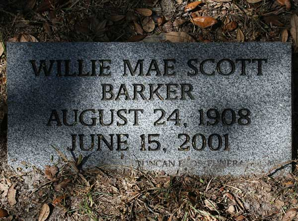 Willie Mae Scott Barker Gravestone Photo