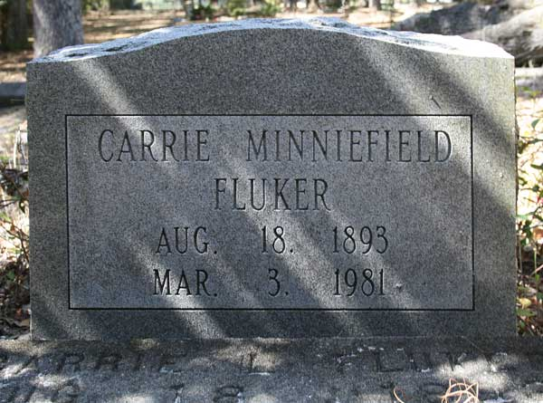 Carrie Minniefield Fluker Gravestone Photo