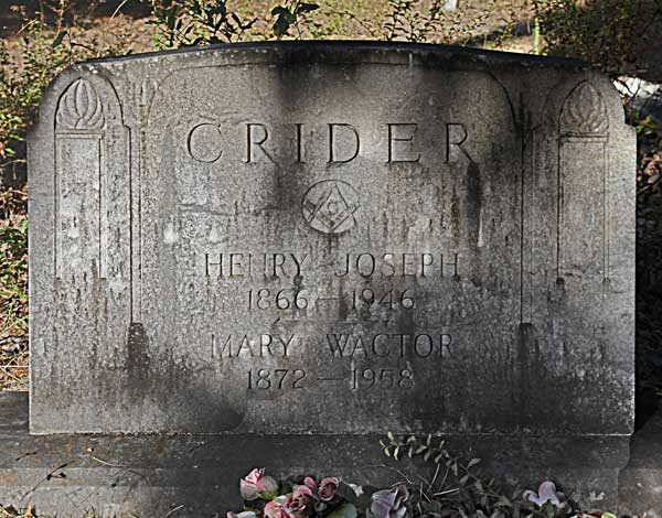 Henry Joseph & Mary Wactor Crider Gravestone Photo