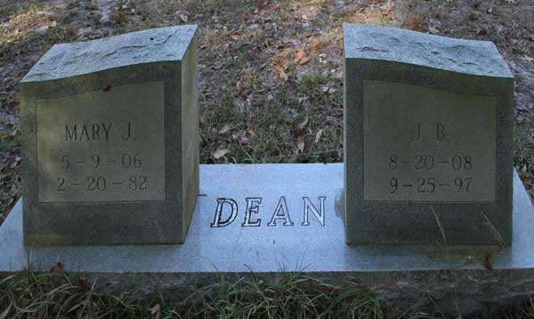 Mary J. & J.B. Dean Gravestone Photo