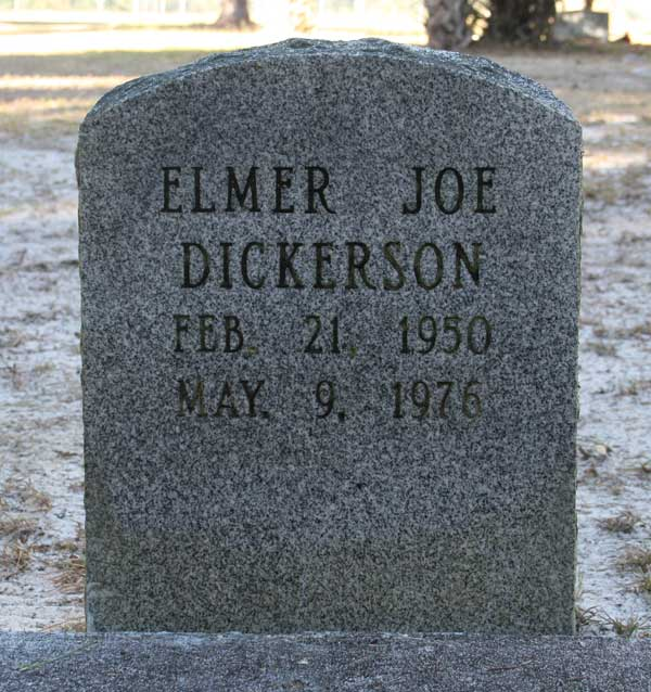 Elmer Joe Dickerson Gravestone Photo