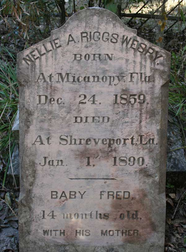 Nellie A. Riggs & Baby Fred Wespy Gravestone Photo