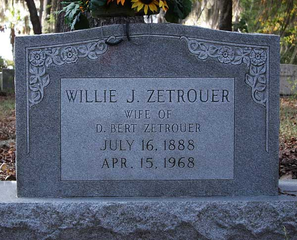 Willie J. Zetrouer Gravestone Photo