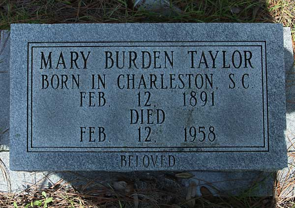 Mary Burden Taylor Gravestone Photo