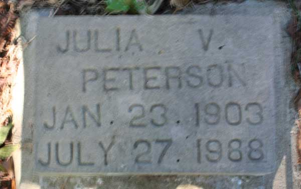Julia V. Peterson Gravestone Photo