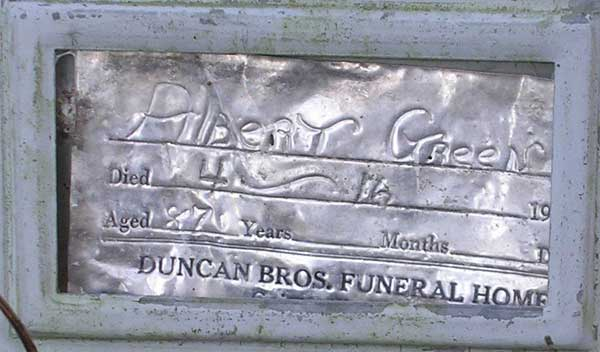 Albert Green Gravestone Photo