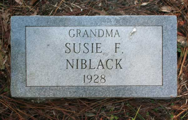 Susie F. Niblack Gravestone Photo