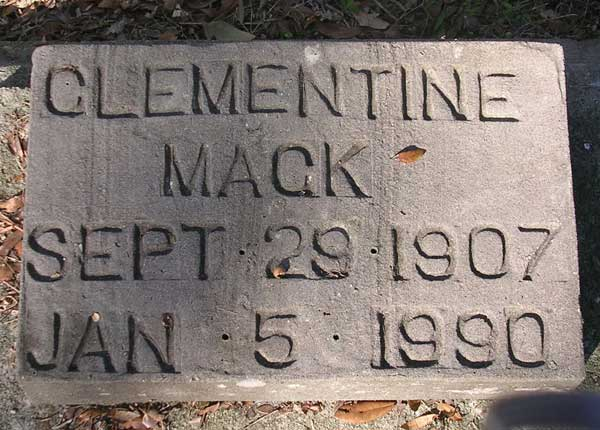 Clementine Mack Gravestone Photo
