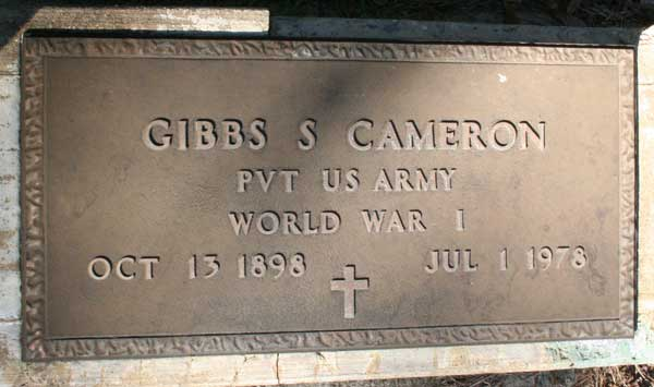 Gibbs S. Cameron Gravestone Photo