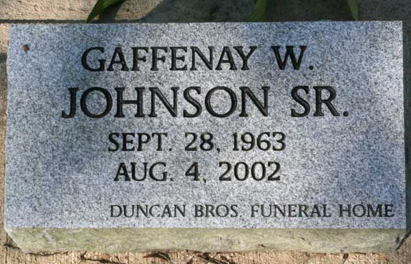 Gaffenay W. Johnson Gravestone Photo