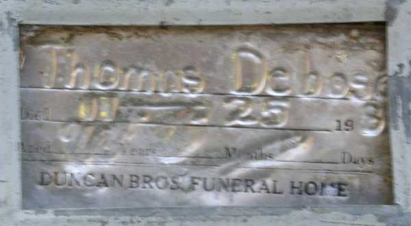 Thomas Debose Gravestone Photo