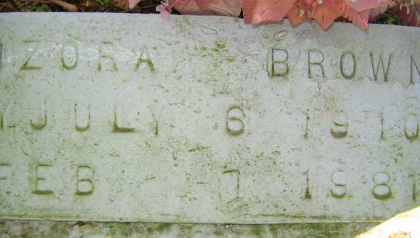 Zora Brown Gravestone Photo