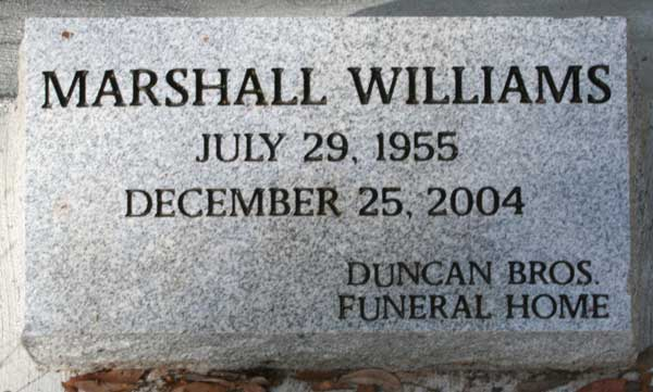Marshall Williams Gravestone Photo