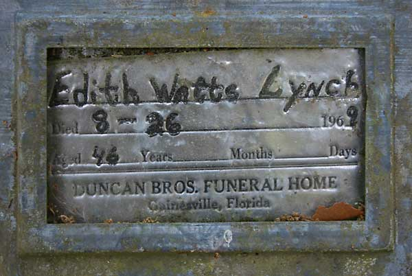 Edith Watts Lynch Gravestone Photo