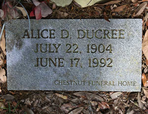 Alice D. Ducree Gravestone Photo