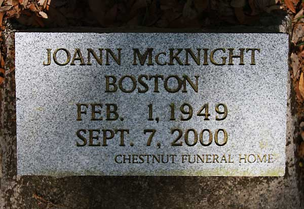 Joann McKnight Boston Gravestone Photo