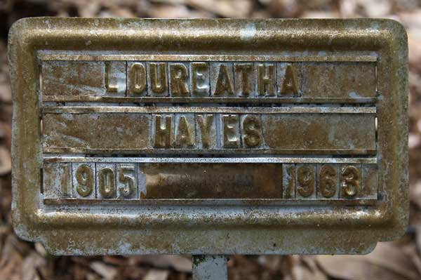 Loureatha Hayes Gravestone Photo
