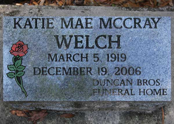 Katie Mae McCray Welch Gravestone Photo