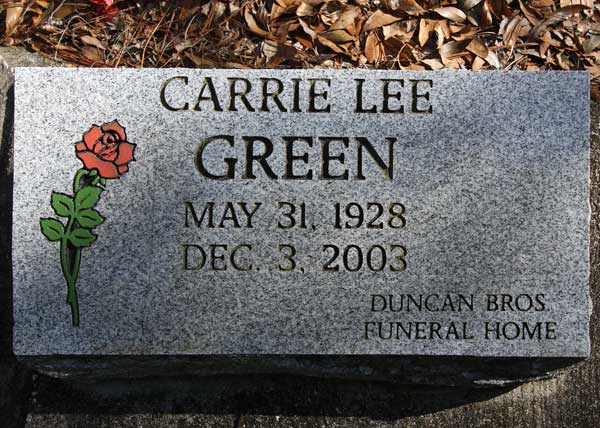 Carrie Lee Green Gravestone Photo